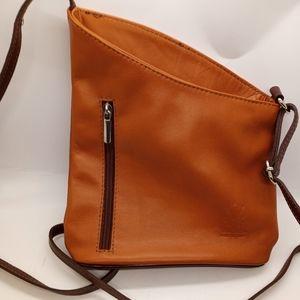 Vera Pelle Brown 2 tone leather crossbody bag